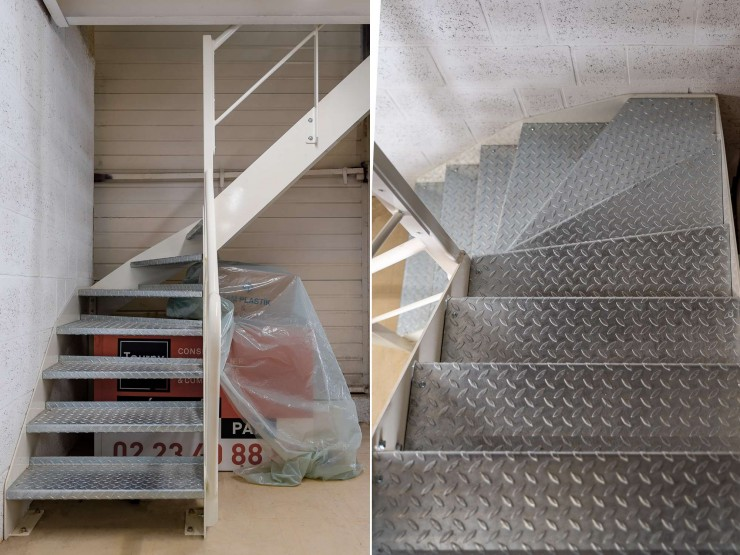 Escalier métallique quart tournant