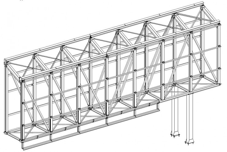 Vue 3D passerelle métallique du collège de Guipry-Messac