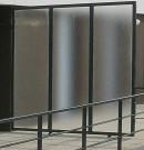 Pare-vue séparatif exterieur en verre granité- structure acier
