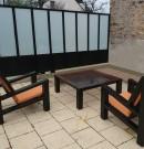 Pare-vue d'une terrasse-strucure en acier-verre opale-finition galvanisé