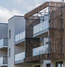 Pare-vue balcon acier et bois