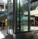 Structure métallique d'ascenseur vitrée-finition laquée-verre agrafé